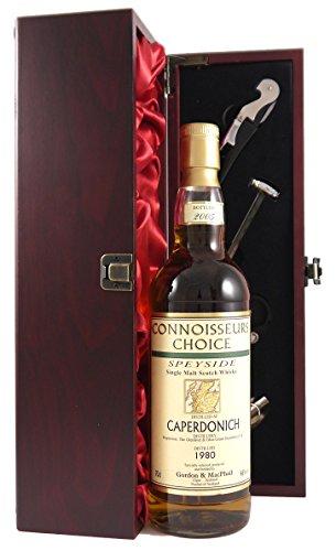 Caperdonich 25 Year Old Speyside Malt Whisky 1980 Gordon & Macphail in einer mit Seide ausgestatetten Geschenkbox, da zu 4 Wein Accessoires, 1 x 700ml