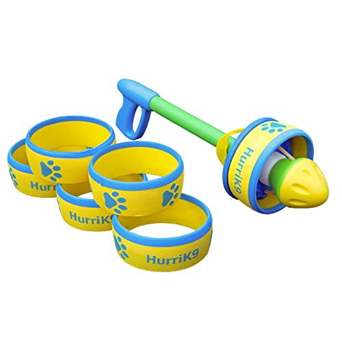 HurriK9 Flying Ring Launcher for Dogs Value Pack, Launcher with 6 Classic Rings