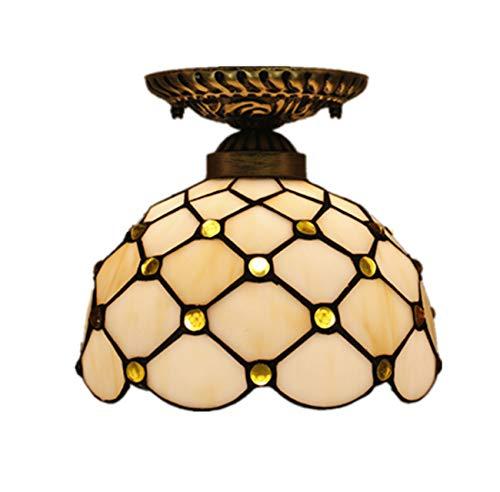Yjmgrowing Tiffany stijl van glas, half gebruikt, plafondlamp, fixutre, voor 8 inch hal, retro-plafondlampen, 110 – 220 V (zonder lampen)