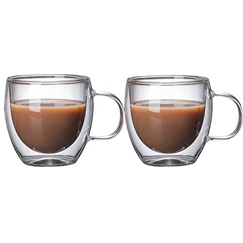 Espresso Tassen Set Kaffeetassen Doppelwandige Kaffee Becher Glas Becher Kaffee Gläser Klar Glas Kaffee Becher Glas Tasse 2CUPS,150ML