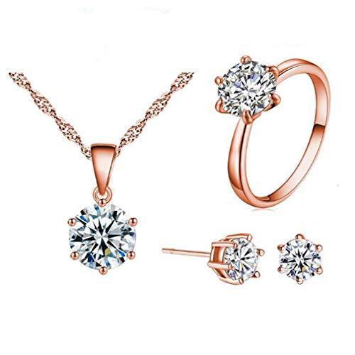 Pendientes y anillos de joyería para mujer con circonita cúbica y piedras preciosas redondas