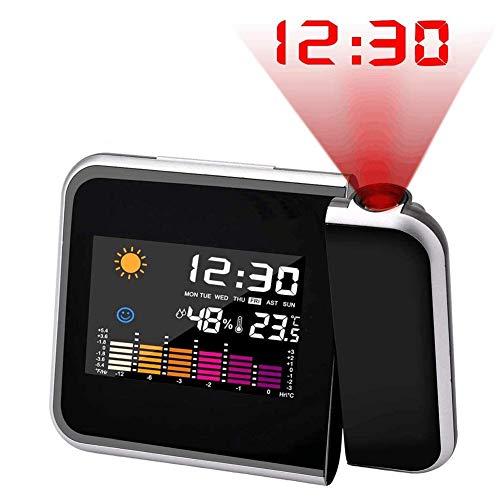 YMJJ Digitale Projektionsuhr, Digitaler Wecker, Projektor Mit LCD/Display, Meteorologie/Thermometer/Hygrometer/Nooze / 12/24 Stunden Für Schlafzimmer
