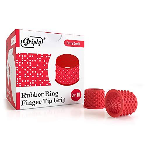 10 unidades de anillos de goma para dedos de tamaño mediano, agarre de dedo de goma