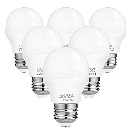 E27 LED Kaltweiss Birnen 40W - Ersatz 4W LED G45 Lampen, 5000K Leuchtmittel Glühbirne 410 Lumens Tropfenform Glühlampen, 6er-Pack