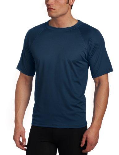 Kanu Surf Men's Short Sleeve UPF 50+ Swim Shirt (Regular & Extended Sizes), Navy, X-Large