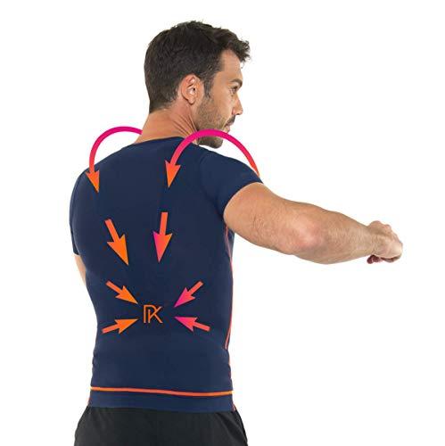 Percko - Lyne Fit Correcteur de Posture pour le Sport - T-shirt de Sport Homme - Lavable 30°- Protège et Renforce le Dos Pendant l'Effort Physique - Bleu Marine - Taille M