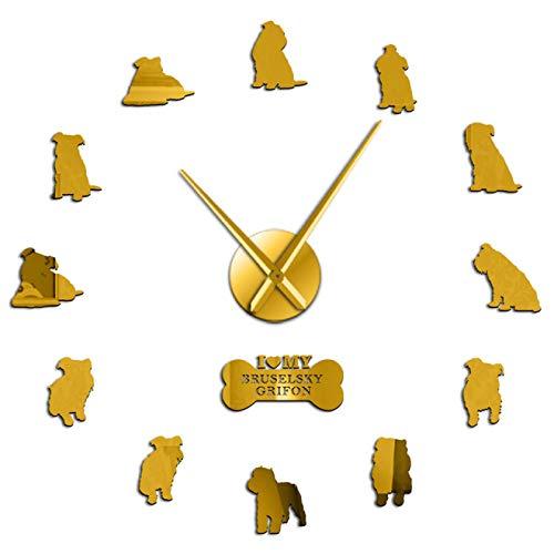 hufeng Reloj de Pared DIY Reloj de Pared Belgian Shag Hunt Reloj de Pared de Cuarzo silencioso Decorativo Decoración para Sala de Estar Cachorro Perro Mascota Arte Regalo Oro 47 Pulgadas