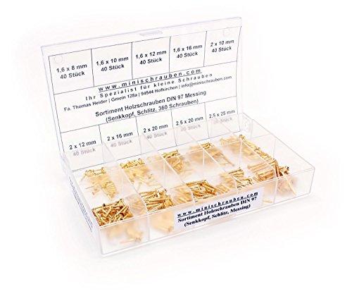 Sortimentskasten mit 360 Stück kleinen Holzschrauben nach DIN 97 aus Messing (ab 1,6x8mm), Schlitz, Senkkopf. Minischrauben Sortiment inkl. beschrifteter Box
