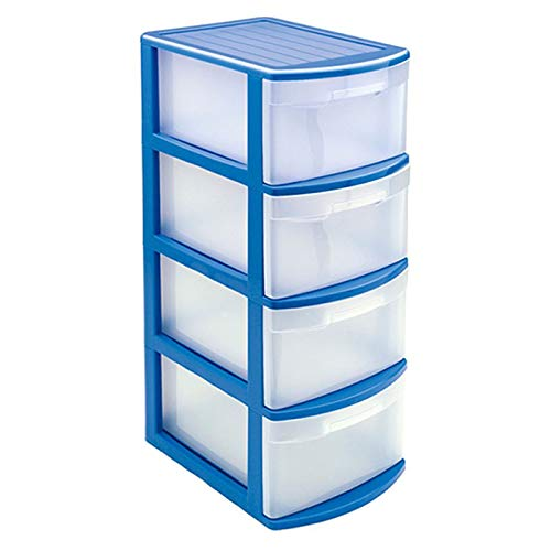 Acan Plástic Forte - Cajonera Támesis Base Estructura Azul 4 cajones Transparente tamaño de Folio 78 x 28.5 x 39 cm, Cajonera plástico 4 cajones sin Rueda