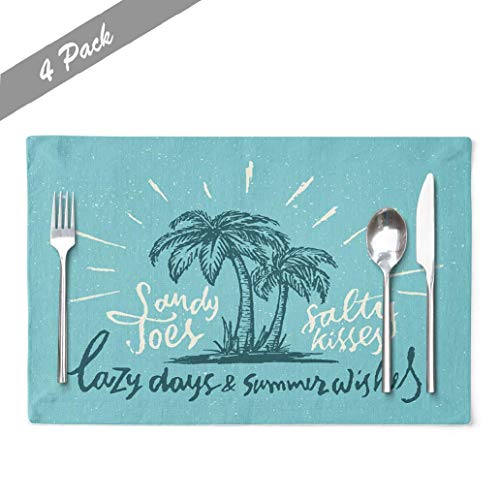 Coastal-Design Placemats, Heat Resistant Placemats Sandy Toes Amp Summer Wishes Vintage Art Coastal Decor Retro Linen Placemats Modern Placemats for Kitchen Dining Table 18 x 12 Inches, Sandy Toes Amp