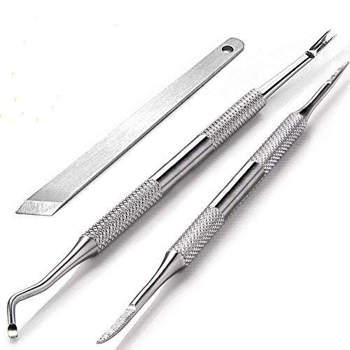 Herramientas de manicura para pedicura, herramienta multifunción de doble extremo, lima de uñas encarnadas,removedor de cutículas y cortador de cutículas,herramientas de uñas con 100% acero inoxidable