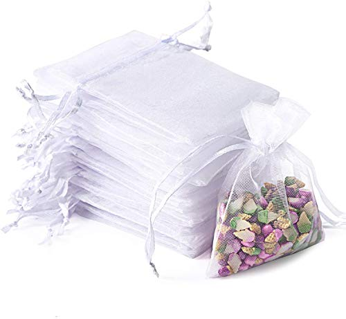 LYZZO 100PCS Premium Sheer Organza Bags, White Wedding Favor Bags with Drawstring, 4x4.72 Jewelry Gift Bags for Party, Jewelry, Festival, Bathroom Soaps, Makeup Organza Favor Bags