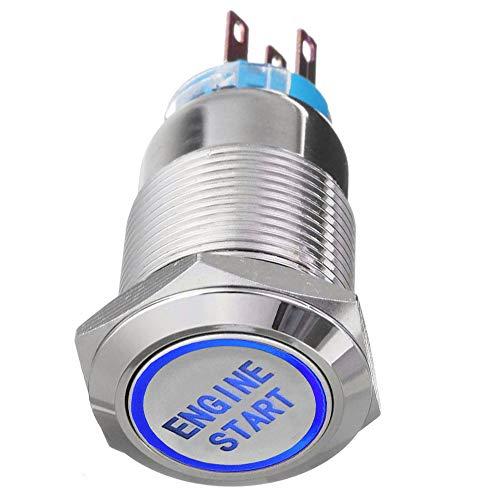 Mintice Interruptor de palanca de metal de 12 V para coche con luz LED azul, 19 mm de arranque del motor