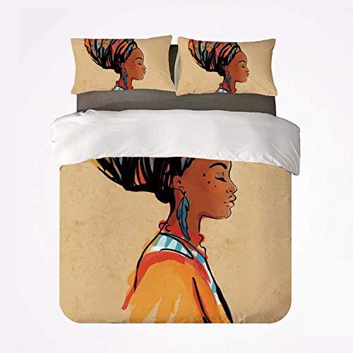 Zozun Juego de Funda nórdica Afro Decor Juego de 3 Ropa de Cama Duradero, Mujer étnica con Pendiente de Plumas exóticas y Bufanda, Arte Hippie zulú para Interiores