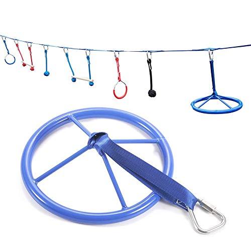 Gcroet Ninja Rad Hindernis für Kinder Kurs Schwungrad Outdoor Klettertrainingsgeräte für Kinder Klettergerüste, Affenrad für Ninja Krieger Hindernisparcours Zufällige Farbe 1St