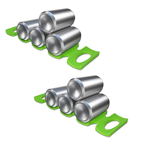 kwmobile 2X Support Bouteille frigo - Range Bouteilles et canettes vin bière Soda pour étagère frigo - 2X Organisateur en Silicone Vert