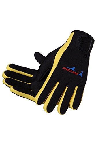 DIVE & SAIL Wetsuits 1.5 mm Premium Neoprene Gloves Scuba Diving Five Finger Glove, Yellow, Small