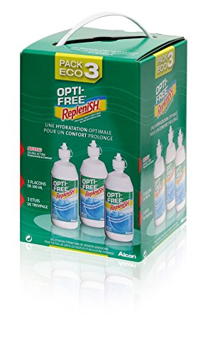 Opti-Free Replenish -Solution d'entretien pour lentilles - Pack 3 flacons de 300 ml