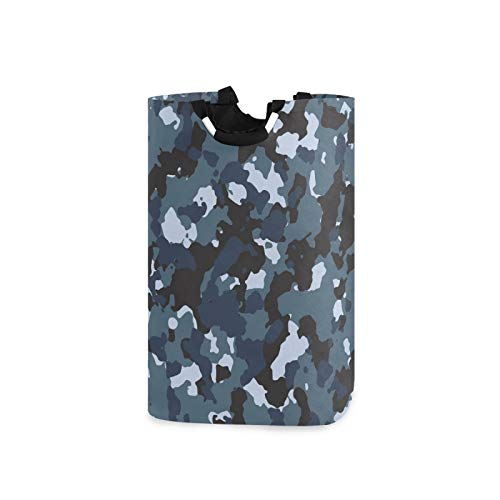 SUABO Blue Camo Laundry Hamper Portable Washing Bin Folding Clothes Bag with Handles for Bathroom