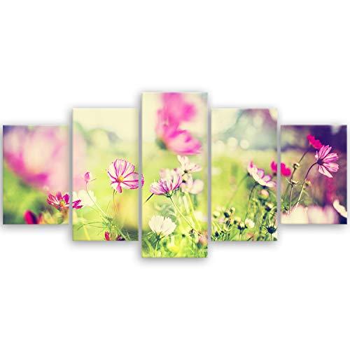 hochwertiges Leinwandbild Naturbilder Landschaftsbilder - Frühling - Blumen Natur Wiese rosa pink - 100 x 50 cm mehrteilig (5 teilig) 2212 Q