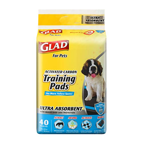 Glad for Pets Heavy Duty Ultra-Absorbent Activated Charcoal Puppy Pads with Leak-Proof edges | Pee Pads for Dogs Perfect for Training New Puppies, Black, 40 Count