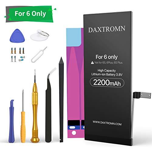 DAXTROMN Batteria per iPhone 6 2200mAh Capacità con 21% in più Nuovo 0 Ciclo con Kit Sostituzione e Adesivi - Batteria Interna di Ricambio in Li-ion per iPhone 6