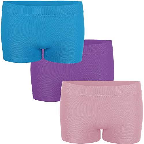 UnsichtBra Damen Panties Mehrpack - Frauen Unterwäsche | Damenunterwäsche - Damen Panty im 3-er Set | Wohlfühl Pantys | Damen Boxershorts (Rosa, Blau, Lila, L-XL)