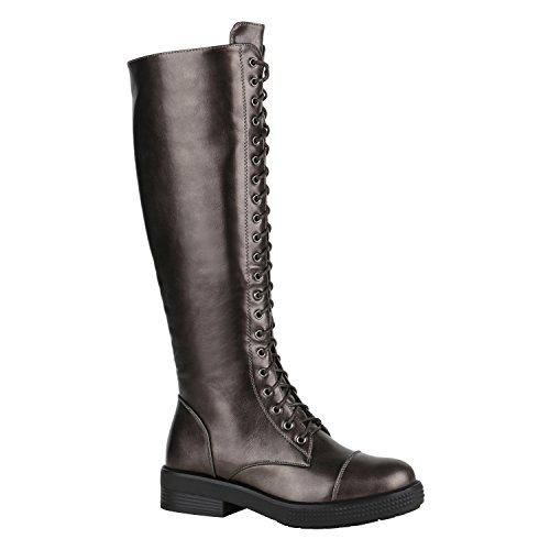 Damen Stiefel Schnürstiefel Boots Plateau Vorne Leder-Optik Schuhe 148862 Grau Metallic Glänzend Camiri 36 Flandell