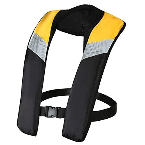 Chaleco salvavidas inflable, chaleco de vida inflable automático/manual para adultos,Amarillo