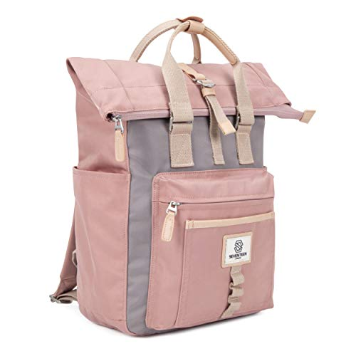 SEVENTEEN LONDON – Modern Cycling Pink & Grey 'Canary Wharf' Fold Roll Top Backpack in a Classic Slim Urban Design – Fits Laptops up to 13'