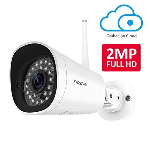 Foscam FI9902P 2MP Cámara Bala IP WiFi Vigilancia, AI Detección Humana, visión Nocturna, Compatible con Alexa (P2P, 1080p, ONVIF)