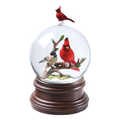 CATALOG CLASSICS Cardinal & Chickadee Winter Birds Musical Snowglobe - Snow Globe Plays Pachelbel's Canon in D