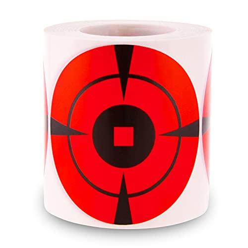 Bersagli di tiro reattivi MEMX, 250 Pezzi adesivi da 7.62CM Bersagli a occhio di bue per tiro - autoadesivo ad alta, visibilità con impatto avanzato per Fucile, Pistola, Softair