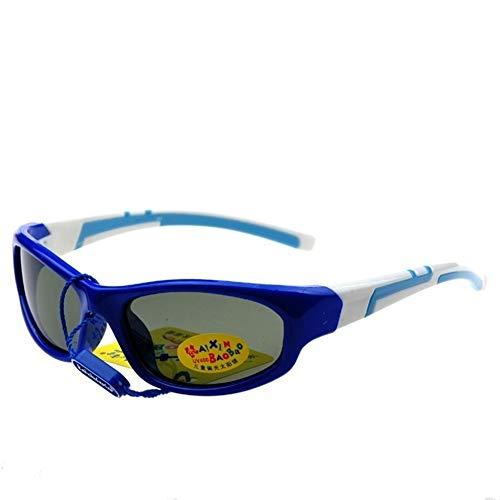 Minicocock Gafas de Sol polarizadas de Dos Colores for niños Anillo Protección de los Ojos Gafas de Sol for niños Gafas de Sol UV400 de Silicona TAC (Color : Blue)