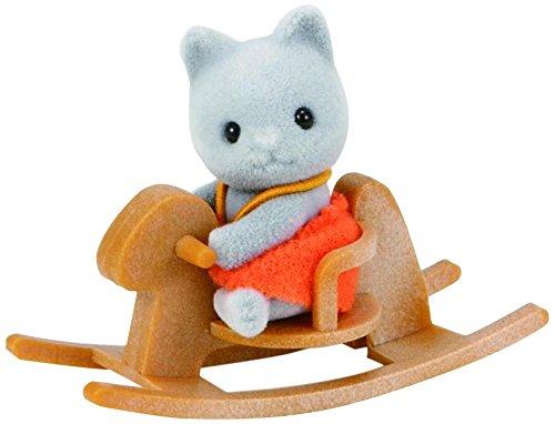 SYLVANIAN FAMILIES- Grey Cat Baby with Rocking Horse Mini Muñecas y Accesorios, Multicolor (Epoch 5135)