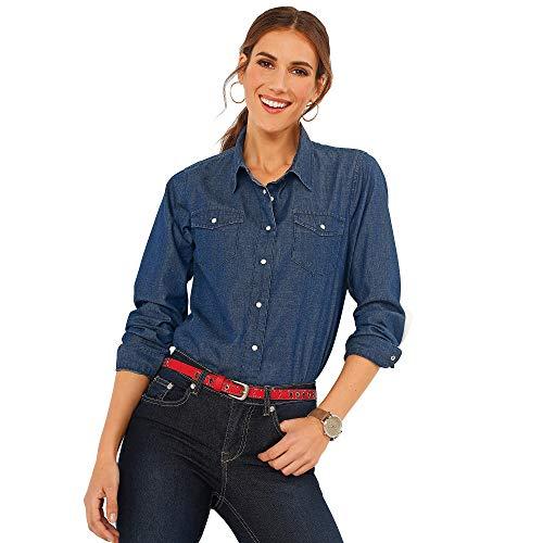 VENCA Camisa Vaquera con autom�ticos Mujer - 010158,Azul Oscuro,M