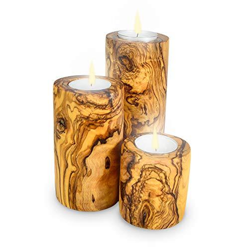Portavelas madera olivo Darido   Portavelas Tealight   Decoración navideña   + Juego de velas perfumadas para candelitas (dotado)   Candelabros para salón, baño   Decoración romántica