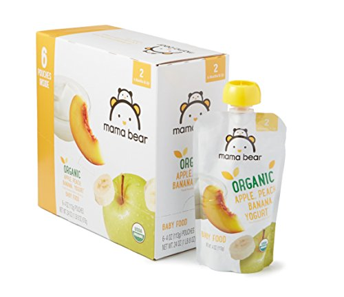 Amazon Brand - Mama Bear Organic Baby Food, Stage 2, Apple Peach Banana Yogurt, 4 Ounce Pouch (Pack of 12)