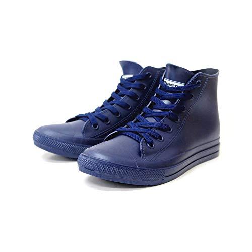 HNG TEN レインシューズ レインスニーカー HIカット ハイカット メンズ ひも 紐 ブラック 黒 ネイビー 雨の日 防水 撥水 長靴 作業靴 男性 紳士 mzhn118(ネイビー M(26.0cm))