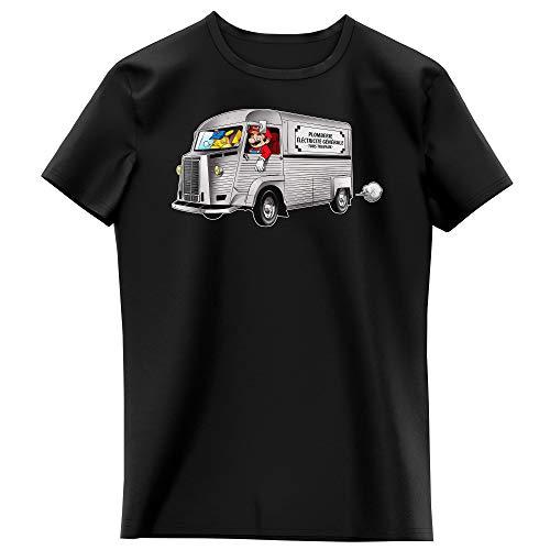 Okiwoki T-Shirt Enfant Fille Noir Parodie Pokémon - Super Mario - Mario et Pikachu - Plomberie - Electricité Générale (T-Shirt Enfant de qualité Premium de Taille 13-14 Ans - imprimé en France)