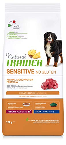 Natural Trainer Sensitive No Gluten - Cibo Secco per Cani Medium&Maxi Adult, con Agnello e Cereali Integrali, 12 kg