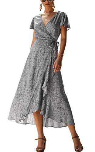 Spec4Y Damen Boho Lange Kleider V-Ausschnitt Sommerkleider Kurzarm Wickelkleid Maxikleid Strandkleid mit Schlitz Schwarz L