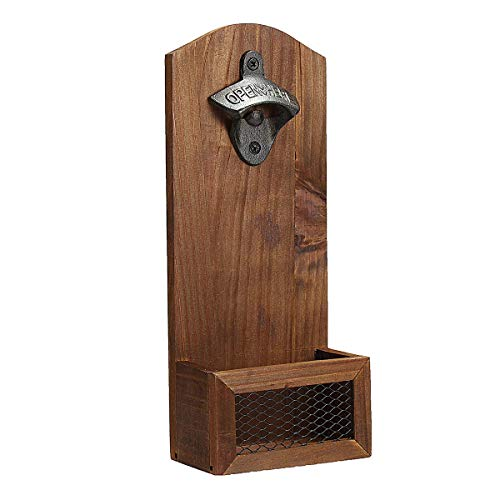 MZXUN Beer Bottle Opener Drink Cap Catcher Wooden Iron Wall Mounted Rustic Bar Decoration