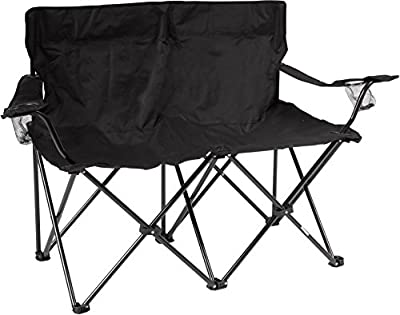 "Trademark Innovations 31.5"" H Loveseat Style Double Camp Chair with Steel Frame, Black"