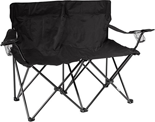 """Trademark Innovations 31.5"""" H Loveseat Style Double Camp Chair with Steel Frame, Black"""