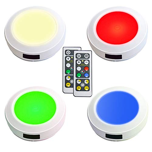 HONWELL Push Light Colored Puck Lights Remote Controlled Battery Operated RGB Fairy Lights Wireless Touch Lights Tap Light Dimmable Closet Cabinet Lights, Stick Voice Level Lights Classroom