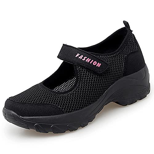 Sandales Femme Mailles Chaussures de Fitness Baskets Mode Compensées Mary Janes pour Femme Espadrilles Chaussures de Sport Eté Noir-D 38EU