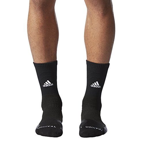 adidas Unisex-US Traxion Menace Crew Football & Basketball Sock (1-Pair), Black/White/Onix/Dark Grey, 9.5-12