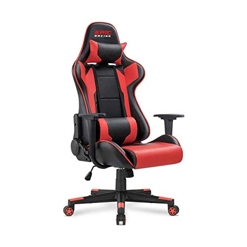 Epic Racing Professional Gaming Chair with Adjustable Height, Full Recline and Headrest/Lumbar Support (Red)