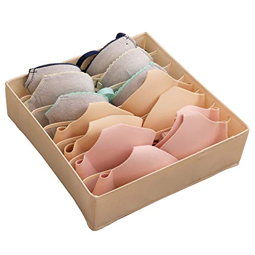 ALYER Collapsible Bra(A-C Cup) Drawer Organizer,Durable Cloth Storage Box Bins Dividers for Panties,Underwear,Socks,Lingerie(Beige-7 Cells)